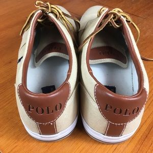 Polo Ralph Lauren Vaughn Canvas Shoes Tan Sz 15 D